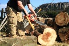 Τεμαχίζοντας δέντρα για το καυσόξυλο, εργασία χωρών Στοκ εικόνα με δικαίωμα ελεύθερης χρήσης