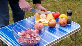Τεμαχίζοντας κρεμμύδι ατόμων για BBQ φιλμ μικρού μήκους