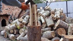 Τεμαχίζοντας ξύλο νεαρών άνδρων, στο σπίτι απόθεμα βίντεο