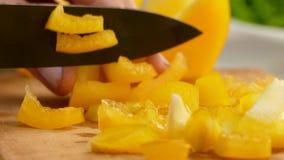 Τεμαχίζοντας πιπέρια στον τέμνοντα πίνακα απόθεμα βίντεο