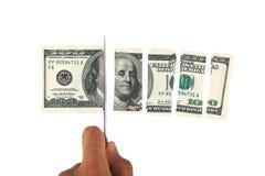 Τεμαχίζοντας τραπεζογραμμάτιο δολαρίων Στοκ Εικόνα