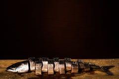 Τεμαχισμένα ακατέργαστα ψάρια στα κομμάτια στη σκοτεινή ανασκόπηση Στοκ Εικόνα