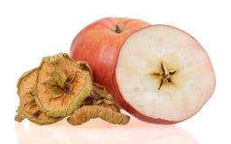 Τεμαχισμένα ξηρά φρούτα της Apple που απομονώνονται στο άσπρο υπόβαθρο Στοκ Εικόνες