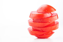 Τεμαχισμένες φρέσκες ντομάτες που συσσωρεύονται Στοκ φωτογραφία με δικαίωμα ελεύθερης χρήσης