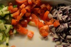 Τεμαχισμένη ντομάτα, αγγούρι και κόκκινο κρεμμύδι στο κύπελλο Στοκ Φωτογραφίες