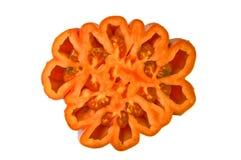 Τεμαχισμένη ντομάτα στο άσπρο υπόβαθρο. Στοκ φωτογραφία με δικαίωμα ελεύθερης χρήσης
