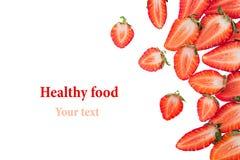 τεμαχισμένη φράουλα άνευ ραφής φράουλα απομονωμένος Φέτες Μακροεντολή σύσταση διάστημα πλαισίων αντιγράφων Στοκ φωτογραφία με δικαίωμα ελεύθερης χρήσης