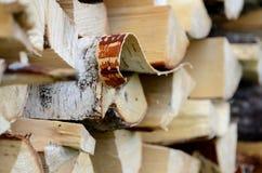 Τεμαχισμένο καυσόξυλο σημύδων σε woodpile το καλοκαίρι Στοκ Φωτογραφίες