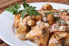 Τεμαχισμένο κοτόπουλο με τα μανιτάρια και σάλτσα σε ένα άσπρο πιάτο Στοκ εικόνες με δικαίωμα ελεύθερης χρήσης