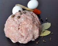 Τεμαχισμένο κρέας με τα καρυκεύματα - πιπέρι, πάπρικα Στοκ φωτογραφία με δικαίωμα ελεύθερης χρήσης