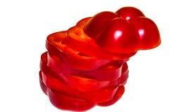 Τεμαχισμένο κόκκινο πιπέρι του Cayenne τσίλι ή τσίλι που απομονώνεται στο άσπρο υπόβαθρο Στοκ Εικόνες