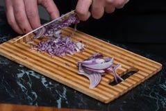 Τεμαχισμός του κόκκινου κρεμμυδιού στον ξύλινο πίνακα στην κουζίνα Τέμνων πίνακας Συστατικό τροφίμων διανυσματική γυναίκα προετοι στοκ εικόνα