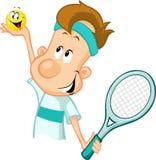 Τενίστας που κρατά μια σφαίρα και μια ρακέτα αντισφαίρισης διανυσματική απεικόνιση