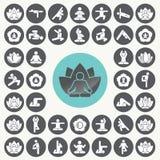 Τεντώνοντας εικονίδια ανθρώπων άσκησης περισυλλογής γιόγκας καθορισμένα Απεικόνιση αποθεμάτων