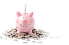 Τεράστια αποταμίευση στη ρόδινη piggy τράπεζα που απομονώνεται στο λευκό Στοκ φωτογραφίες με δικαίωμα ελεύθερης χρήσης