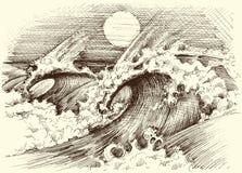 Τεράστια κύματα χάραξη θάλασσας ελεύθερη απεικόνιση δικαιώματος