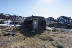 Τεράστια παγόβουνα στην πόλη του Ιλούλισσατ της Γροιλανδίας Το Μάιο του 2016 Στοκ Εικόνα