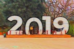 Τεράστια ψηφία 2019 απεικόνιση απεικόνιση αποθεμάτων