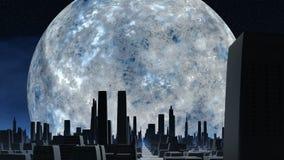 Τεράστιες ασημένιες φεγγάρι και πόλη των αλλοδαπών απεικόνιση αποθεμάτων