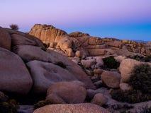 Τεράστιοι βράχοι μετά από το εθνικό πάρκο δέντρων ηλιοβασιλέματος ν Joshua στοκ εικόνες