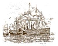 """Τεράστιος ιστορικός σίδηρος που πλέει μεγάλο ανατολικό ατμοπλοίων """"«από Isambard Kingdom Brunel από το 1858 απεικόνιση αποθεμάτων"""