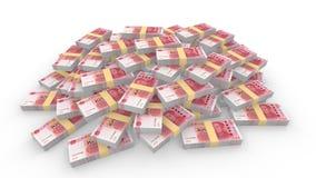 Τεράστιος σωρός τυχαίων κινεζικών 100 λογαριασμών RMB διανυσματική απεικόνιση