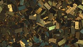 Τεράστιος σωρός των διαφορετικών χρυσών ράβδων, κορυφή κάτω από την άποψη διανυσματική απεικόνιση