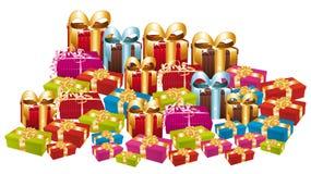 Τεράστιος σωρός των ζωηρόχρωμων εορταστικών δώρων. ελεύθερη απεικόνιση δικαιώματος