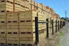 Τεράστιος σωρός των ξύλινων κιβωτίων της Apple που αναμένουν το χρόνο συγκομιδών Στοκ εικόνα με δικαίωμα ελεύθερης χρήσης