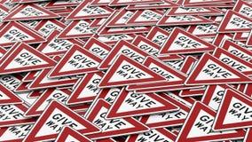 Τεράστιος σωρός Give Way των σημαδιών διανυσματική απεικόνιση