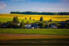 Τεράστιος τομέας συναπόσπορων κοντά στο μικρό χωριό τοπίο αγροτικό στοκ εικόνες