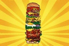 Τεράστιος Burger πύργος Γρήγορο φαγητό οδών ελεύθερη απεικόνιση δικαιώματος