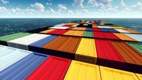 Τεράστιο εμπορευματοκιβώτιο στον τρόπο στην τρισδιάστατη απόδοση λιμένων Στοκ Εικόνα