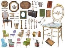 Τεράστιο σύνολο παλαιών στοιχείων Εκλεκτής ποιότητας οικιακοί στοιχεία, ασημικές, έπιπλα και περισσότεροι o στοκ φωτογραφία