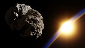 Τεράστιο asteroid στο διαστημικό πλησιάζοντας πλανήτη με την ανατολή Στοκ Εικόνα