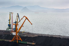 Τερματικό άνθρακα στο λιμένα Στοκ Φωτογραφία