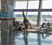 Τερματικό αναχώρησης επιβατών του διεθνούς αερολιμένα Boryspil, Ουκρανία στοκ φωτογραφία με δικαίωμα ελεύθερης χρήσης