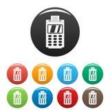 Τερματικό για τα cashless εικονίδια πληρωμής καθορισμένα το χρώμα διανυσματική απεικόνιση
