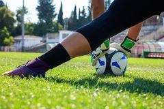 Τερματοφύλακας ποδοσφαίρου ποδοσφαίρου στον τομέα Στοκ φωτογραφίες με δικαίωμα ελεύθερης χρήσης
