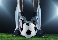 τερματοφύλακας ποδόσφαιρο Αντιστοιχία Fotball Έννοια πρωταθλήματος με τη σφαίρα ποδοσφαίρου Στοκ Εικόνες