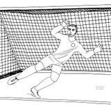 Τερματοφύλακας που πηδά για να πιάσει τη σφαίρα ποδοσφαίρου ποδοσφαιρικό παιχνίδι Νέος αθλητικός πρωτοπόρος Συρμένη χέρι διανυσμα διανυσματική απεικόνιση