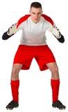 Τερματοφύλακας κόκκινο και άσπρο σε έτοιμο να πιάσει Στοκ φωτογραφία με δικαίωμα ελεύθερης χρήσης