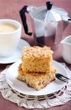 Τετράγωνα του κέικ καφέ μήλων Στοκ φωτογραφία με δικαίωμα ελεύθερης χρήσης