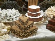Τετράγωνα nero Panforte Παραδοσιακό ιταλικό κέικ με τα καρύδια και το δ Στοκ εικόνες με δικαίωμα ελεύθερης χρήσης