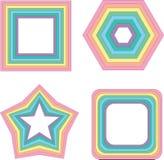 Τετράγωνο, αστέρι και άλλο ουράνιων τόξων κρητιδογραφιών - διανυσματικό γεωμετρικό στοιχείο Στοκ φωτογραφία με δικαίωμα ελεύθερης χρήσης
