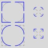 Τετράγωνο γωνιών εικονιδίων εναντίον της ακτίνας Στοκ φωτογραφία με δικαίωμα ελεύθερης χρήσης