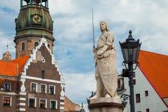 Τετράγωνο Δημαρχείων στην παλαιά πόλη Ρήγα, Λετονία Στοκ Φωτογραφία