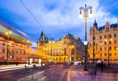 Τετράγωνο Δημοκρατίας στην παλαιά πόλη της Πράγας ` s τη νύχτα, Δημοκρατία της Τσεχίας στοκ εικόνες