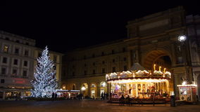 Τετράγωνο Δημοκρατίας της Ιταλίας Φλωρεντία στη νύχτα Χριστουγέννων φιλμ μικρού μήκους