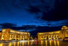 Τετράγωνο Δημοκρατίας τη νύχτα σε Jerevan, Αρμενία Στοκ Εικόνες